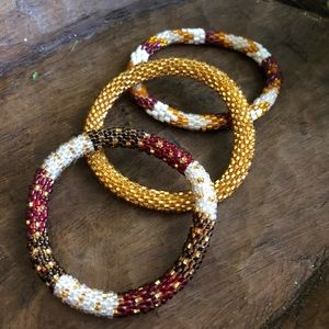 Roll on Glass Bead bracelet set of 3